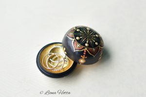 Unique Hand painted mandala trinket, gold leaf