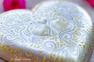 Love stone, casted heart hand-painted