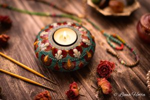 Dezeere – Mandala Tea Light Holder  (Casted Stone)