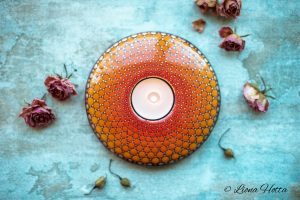 Sunrise – Mandala Tea Light Holder  (Casted Stone)